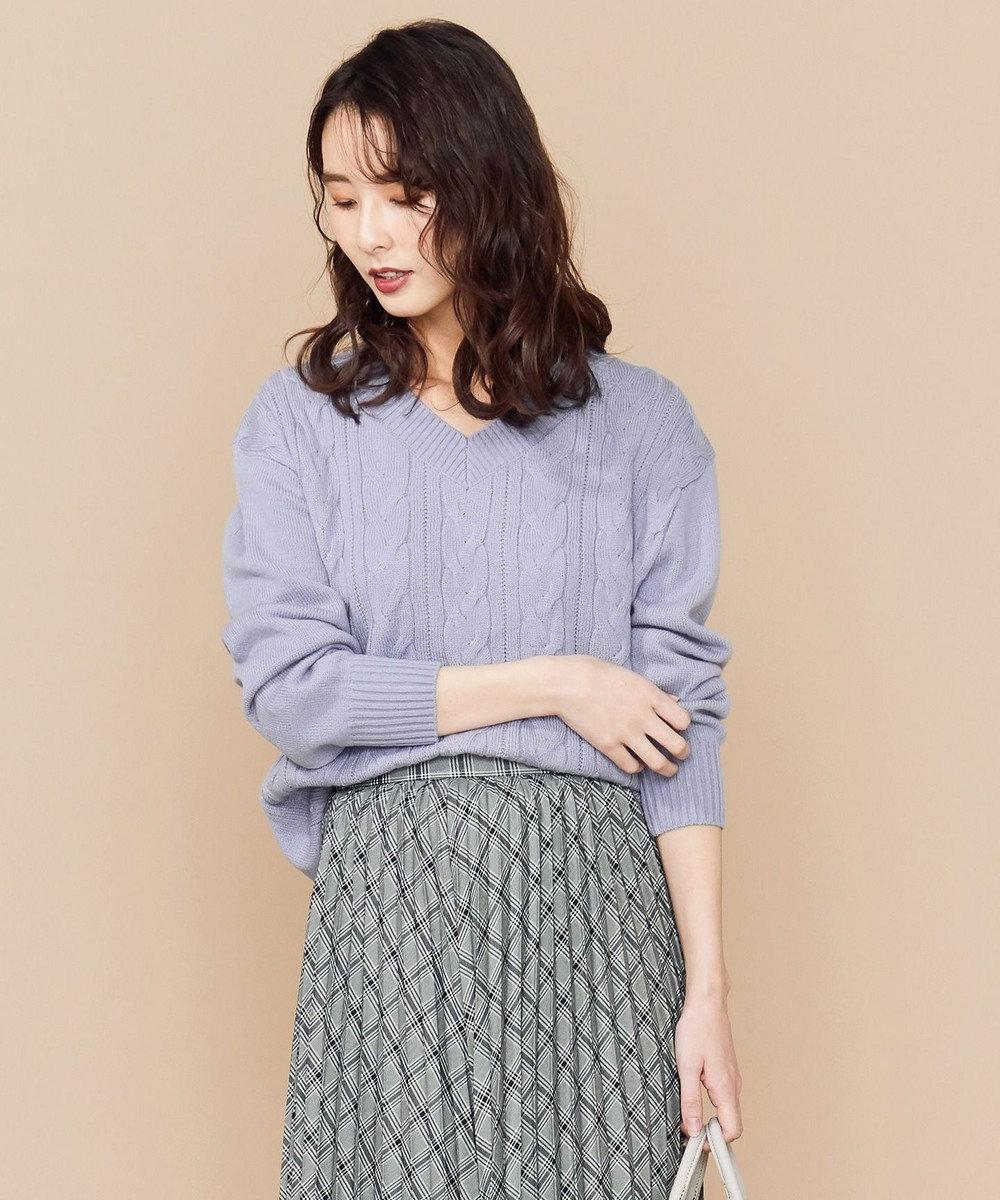any SiS S 【洗える】ミドルゲージ Vネック ニット ブルー