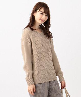 any SiS S 【洗える】ミドルゲージ Vネック ニット ミルクティー