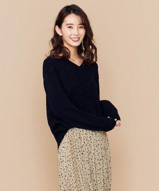 any SiS S 【洗える】ミドルゲージ Vネック ニット ネイビー