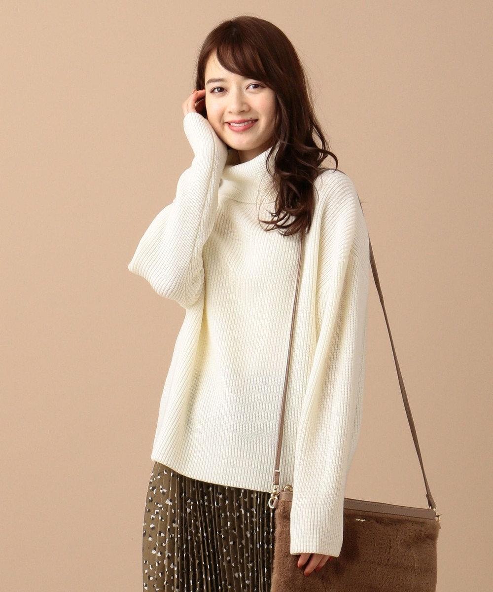 any SiS S 【洗える】ミドルゲージ タートルネック ニット アイボリー