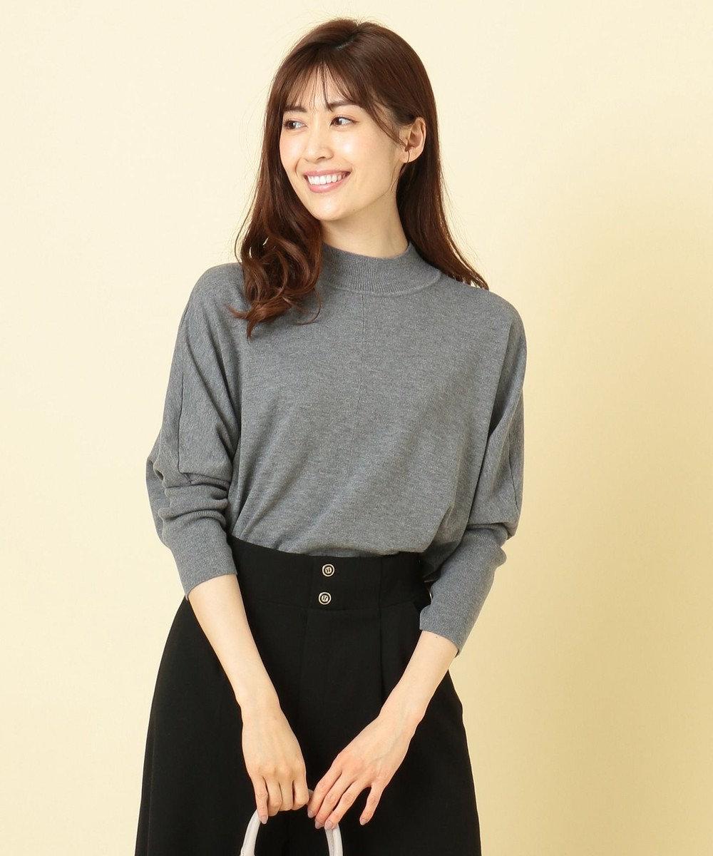any SiS 【洗える】ドルマンチュニック ニット チャコールグレー