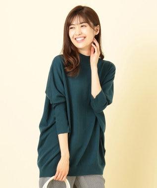 any SiS S 【洗える】ドルマンチュニック ニット ブルーグリーン