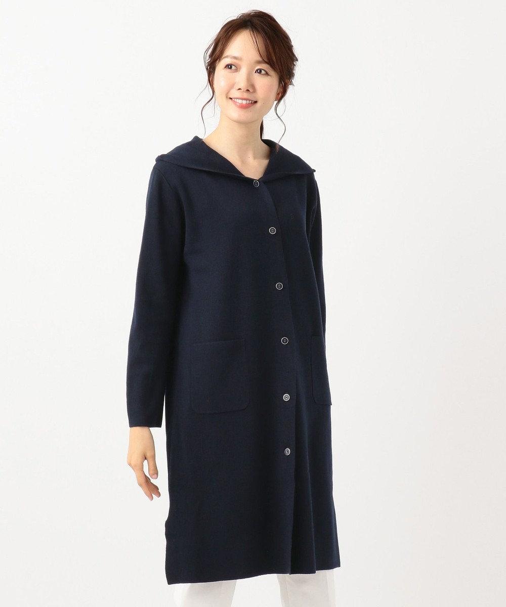 any SiS L 【洗える】ロングニット コーディガン ネイビー