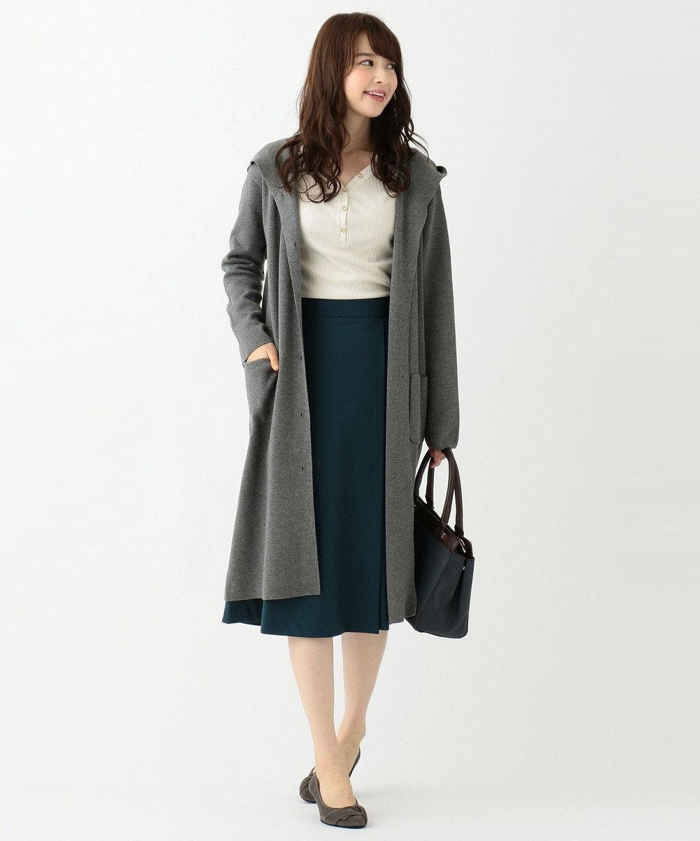 any SiS L 【洗える】ロングニット コーディガン チャコールグレー
