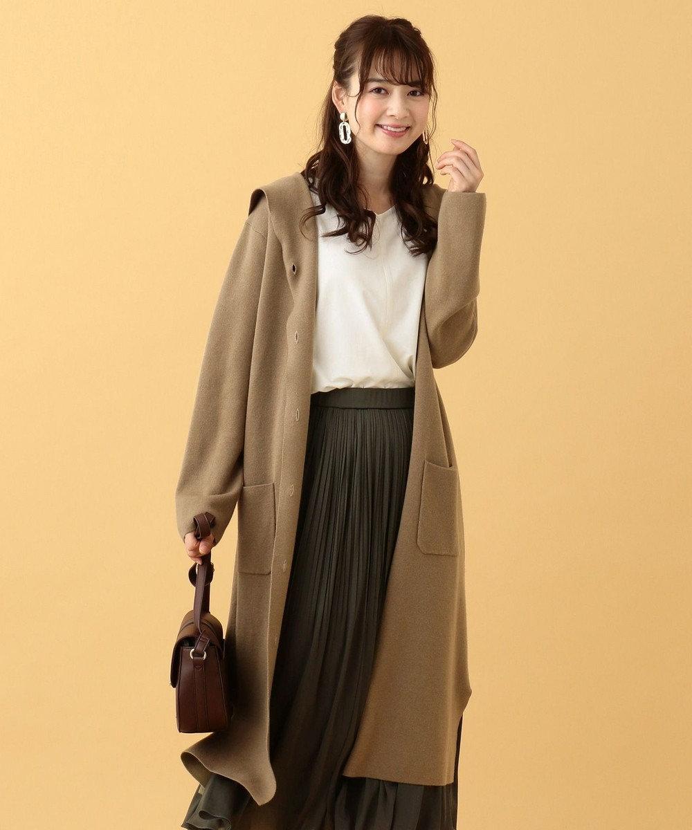 any SiS L 【洗える】ロングニット コーディガン モカ