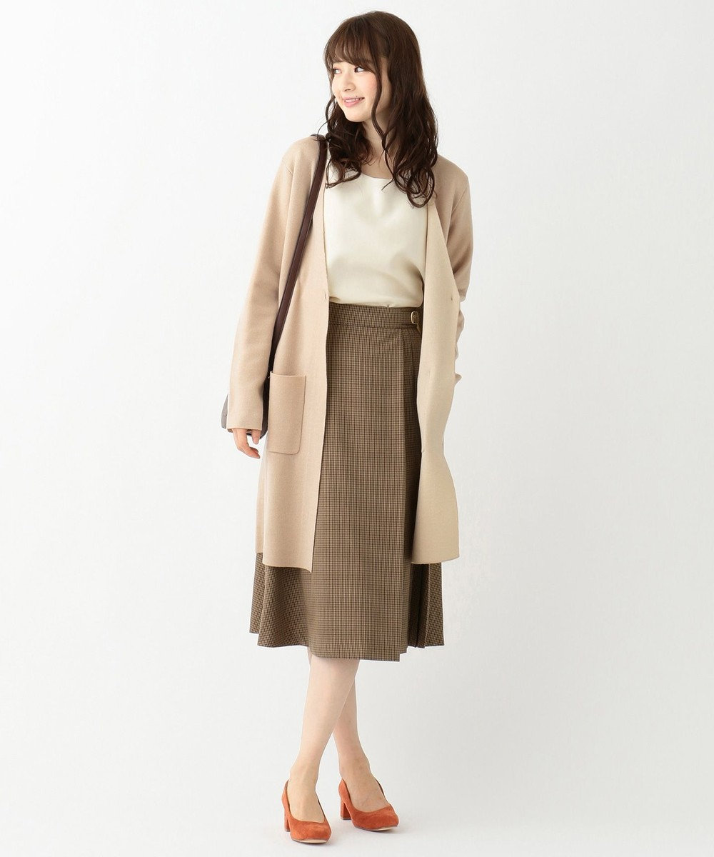 any SiS L 【洗える】カラーコンビ コーディガン モカベージュ×アイボリーベージュ