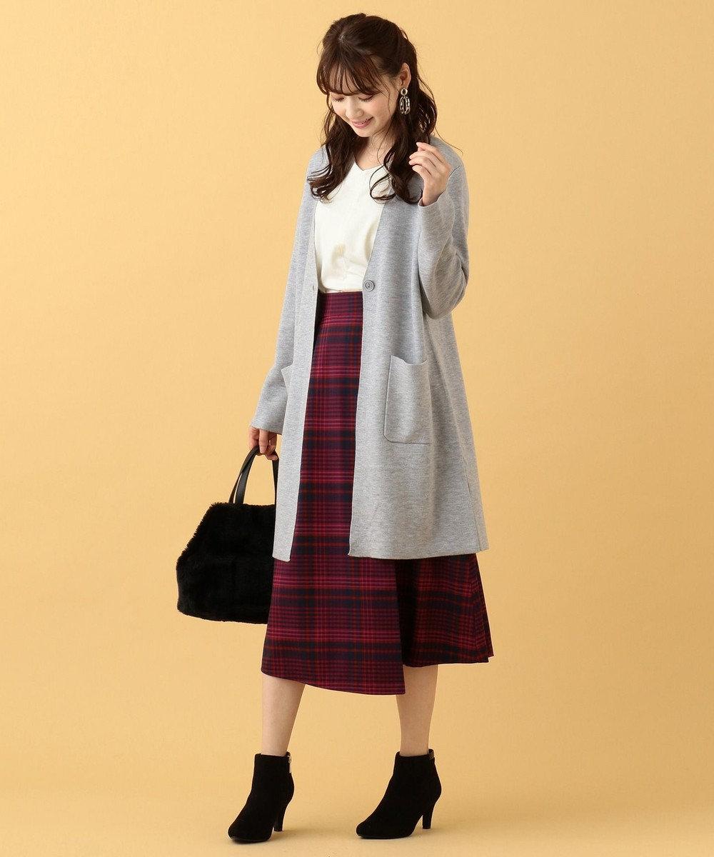 any SiS L 【洗える】カラーコンビ コーディガン ライトグレー×アイスグレー