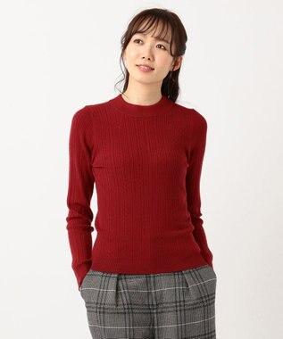any SiS 【洗える】ミニケーブルタートル ニット レッド系