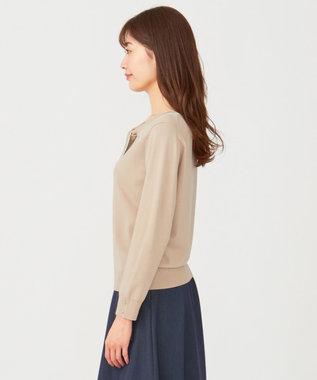 any SiS S 【洗える】ボウタイ ニット ミルクティー×アイボリー