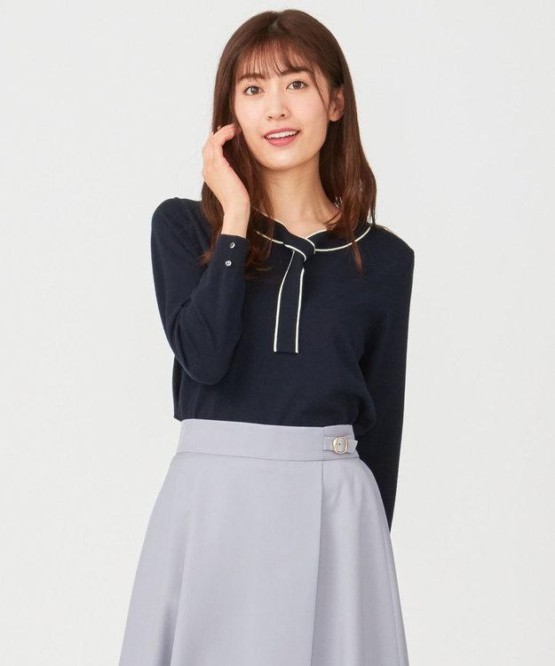 any SiS S 【洗える】ボウタイ ニット