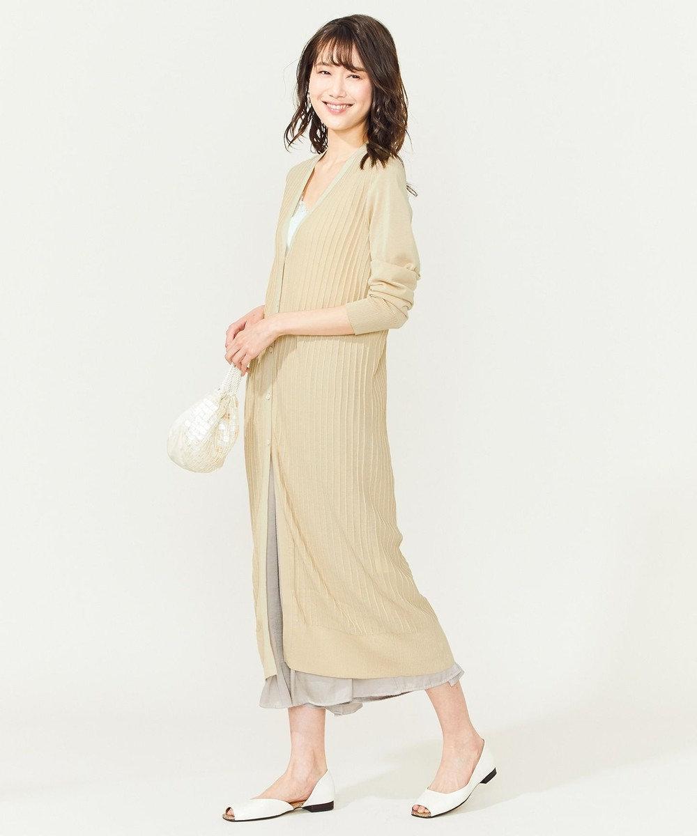 組曲 L 【吸水速乾】シアーリブカーディガン ベージュ系