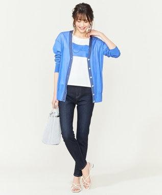 組曲 L 【シアー素材】シアーコットン カーディガン ブルー系