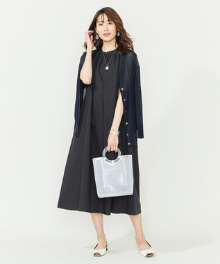 組曲 L 【シアー素材】シアーコットン カーディガン ネイビー系