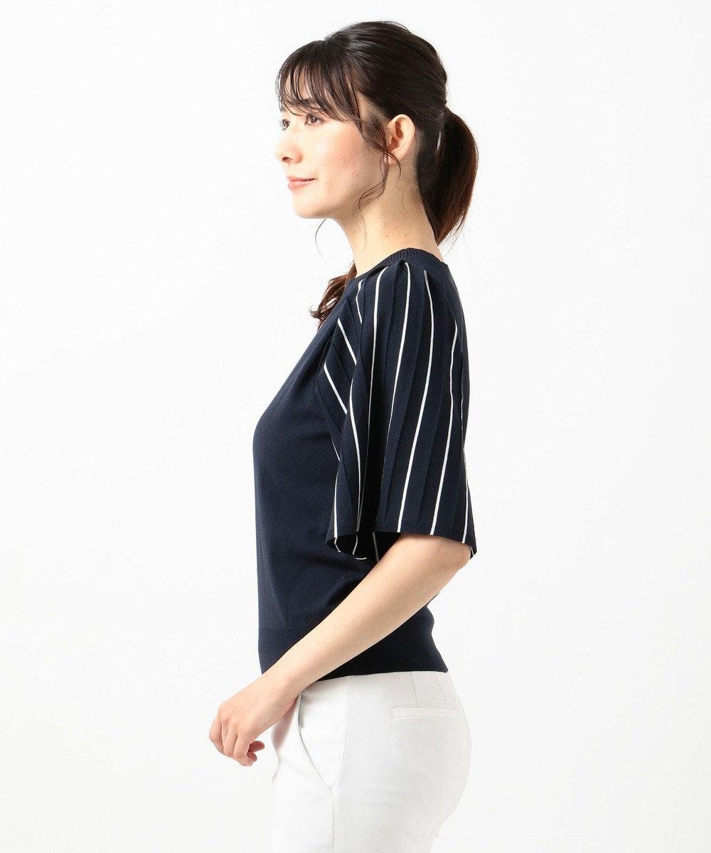 組曲 【洗える】ストライププリーツ ニット ネイビー系