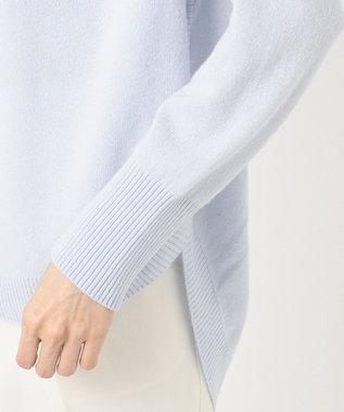 組曲 L 【洗える】カシミヤブレンド ラウンドヘム プルオーバー ニット サックスブルー系