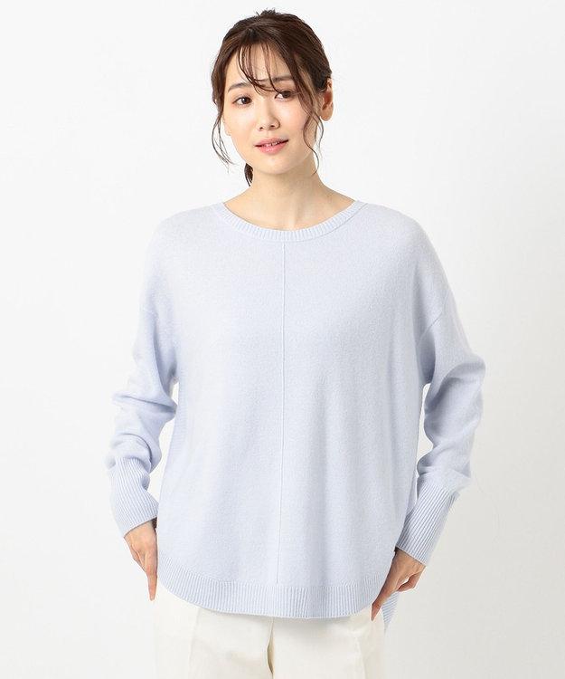 組曲 L 【洗える】カシミヤブレンド ラウンドヘム プルオーバー ニット