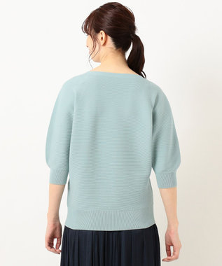 組曲 【洗える】フェルガナコットンボタニカルダイホールガーメント ニット グリーン系