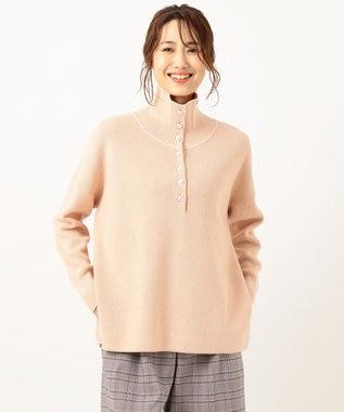 組曲 【洗える】ボタン付き スキッパー ハイネックニット ピンク系
