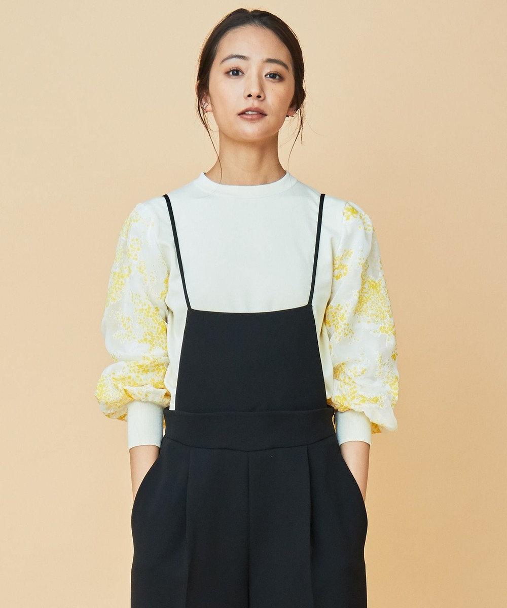 組曲 【Rythme KUMIKYOKU】Mimosa Lace Puff パフスリーブ ニット アイボリー系
