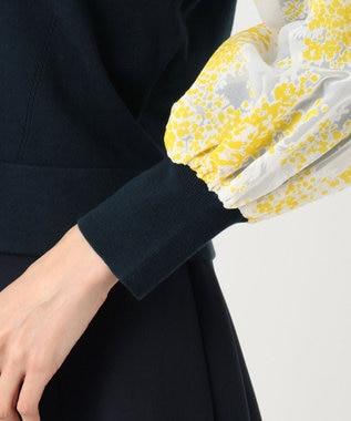 組曲 【Rythme KUMIKYOKU】Mimosa Lace Puff パフスリーブ ニット ネイビー系