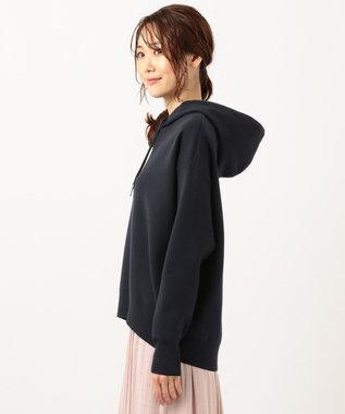 組曲 【洗える】スムースラメ ニットフーディー パーカ ネイビー系