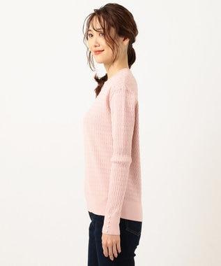 組曲 L 【洗える】ガラス風ボタン付き ミニケーブル ニット ピンク系