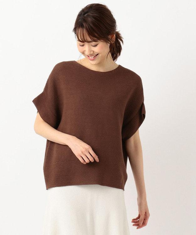 組曲 【洗える】ギマコットンプルオーバー 半袖ニット
