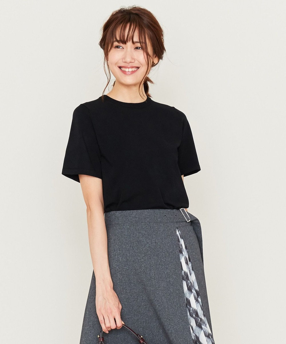 組曲 【洗える】クレープストレッチ ニットTシャツ ブラック系