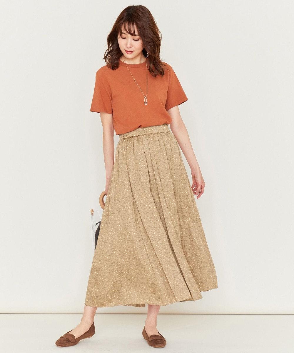 組曲 L 【洗える】クレープストレッチ ニットTシャツ オレンジ系