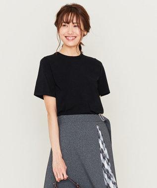 組曲 L 【洗える】クレープストレッチ ニットTシャツ ブラック系