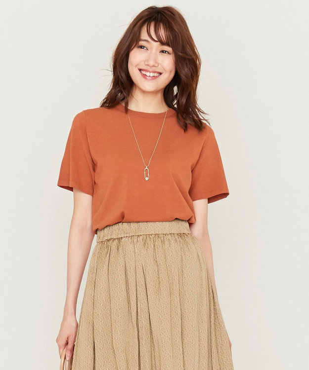 組曲 L 【洗える】クレープストレッチ ニットTシャツ