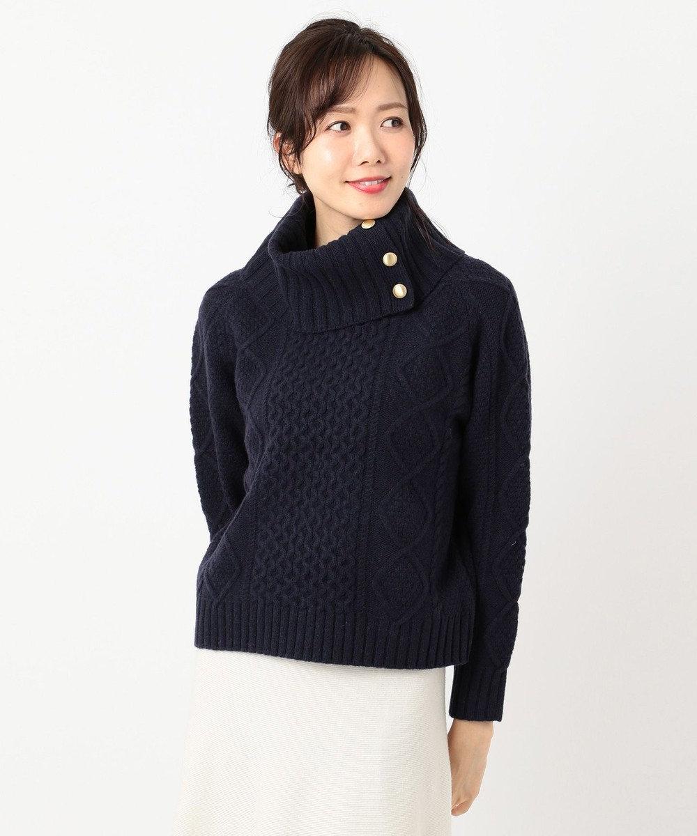 組曲 【MORE12月号掲載】メランジケーブル ニット ネイビー