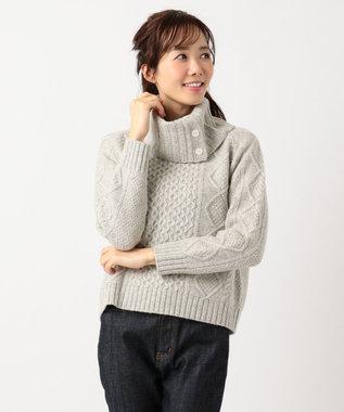 組曲 【MORE12月号掲載】メランジケーブル ニット ライトグレー