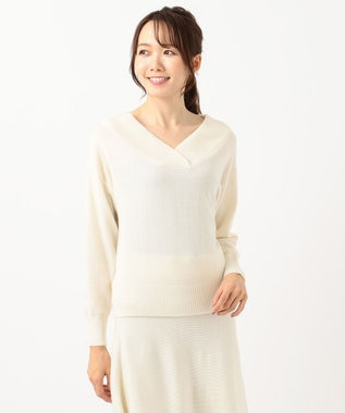 組曲 【洗える】ソフトウールカシミヤ Vネックニット ホワイト系
