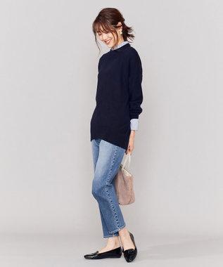 組曲 S 【Oggi掲載】ソフトウールカシミヤ ミディアム丈ニット ネイビー系