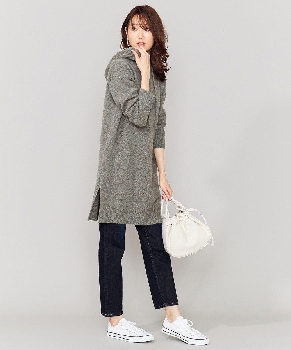 組曲 L 【洗える】ソフトウールフーディーチュニック丈ニット グレー系