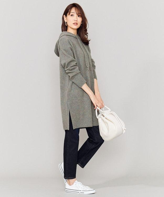 組曲 L 【洗える】ソフトウールフーディーチュニック丈ニット