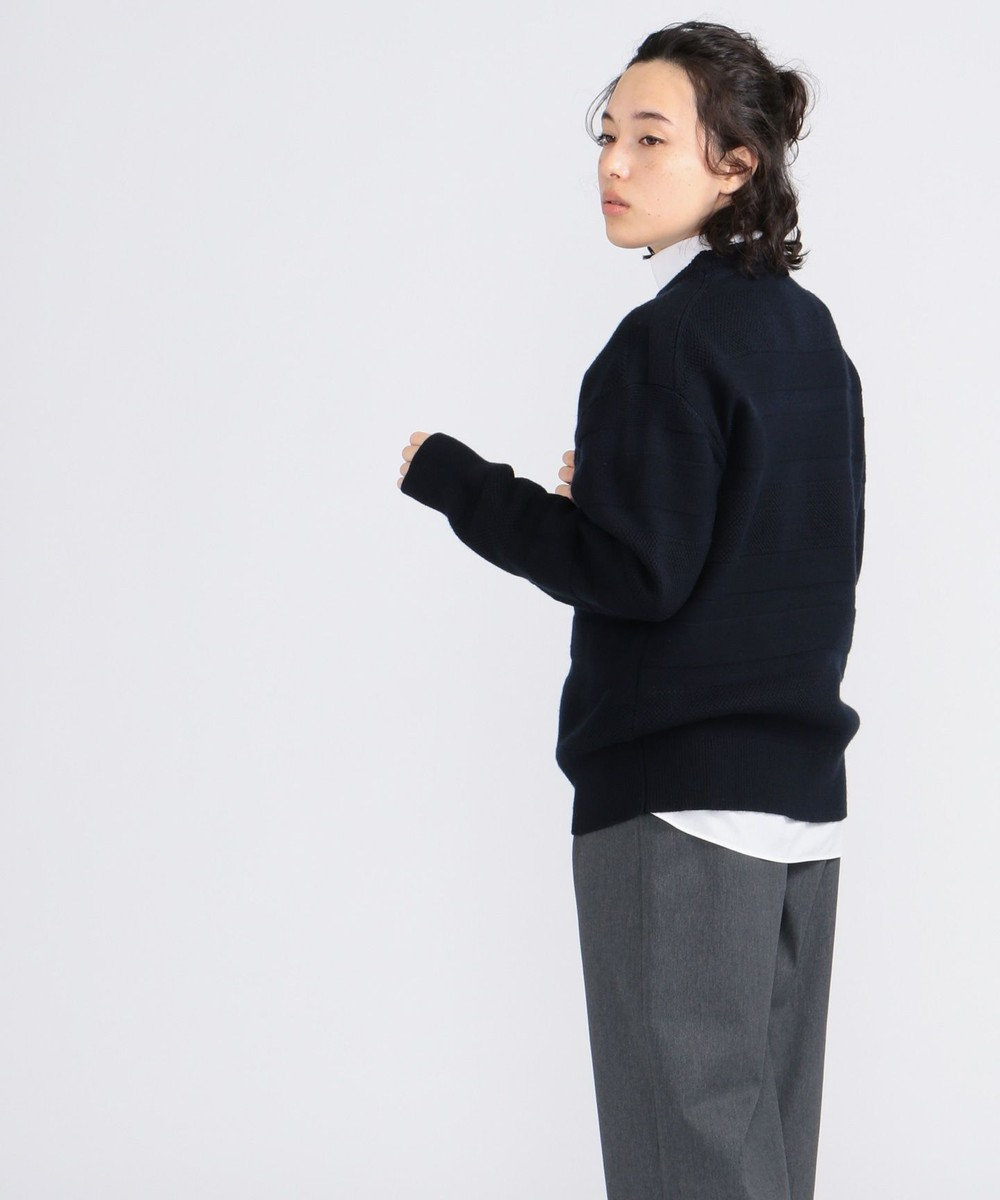 J.PRESS YORK STREET 【UNISEX】【洗える】ランダムボーダークルーセーター ネイビー系