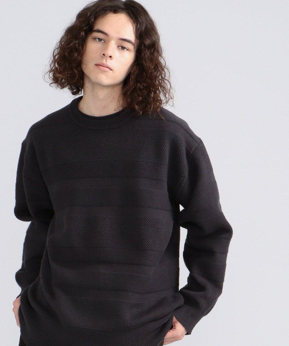 J.PRESS YORK STREET 【UNISEX】【洗える】ランダムボーダークルーセーター グレー系