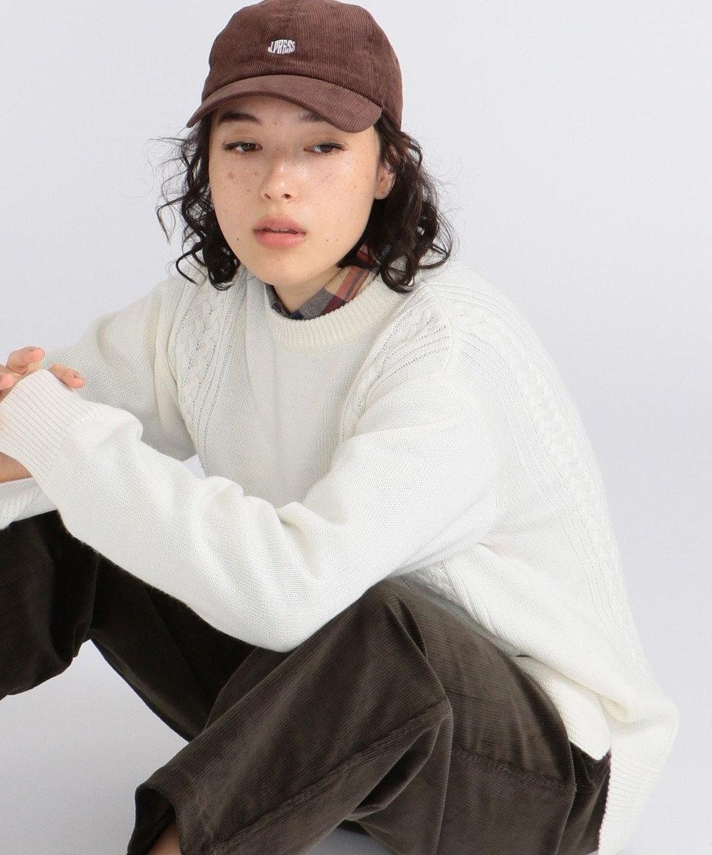 J.PRESS YORK STREET 【UNISEX】【洗える】ケーブルクルーセーター ホワイト系