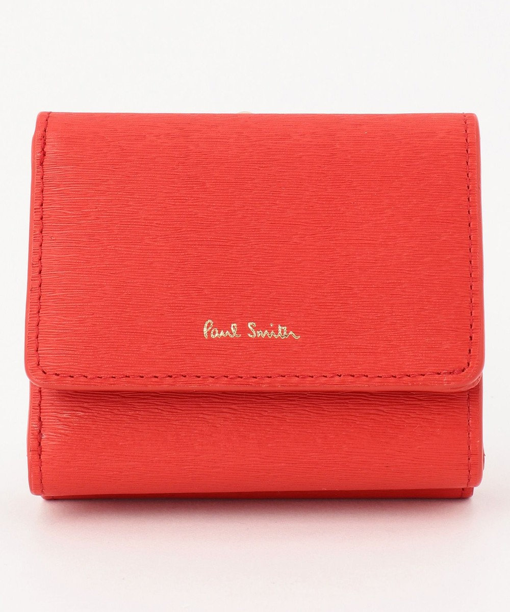Paul Smith ストローグレインレザー 3つ折り財布 レッド系