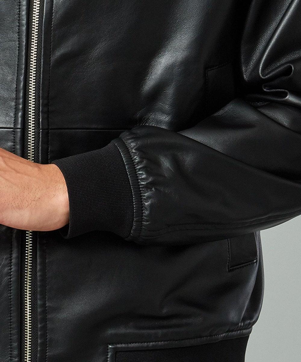 CK CALVIN KLEIN MEN 【新型/キングサイズ】ライトウェイトナッパ レザーパーカー ブラック系