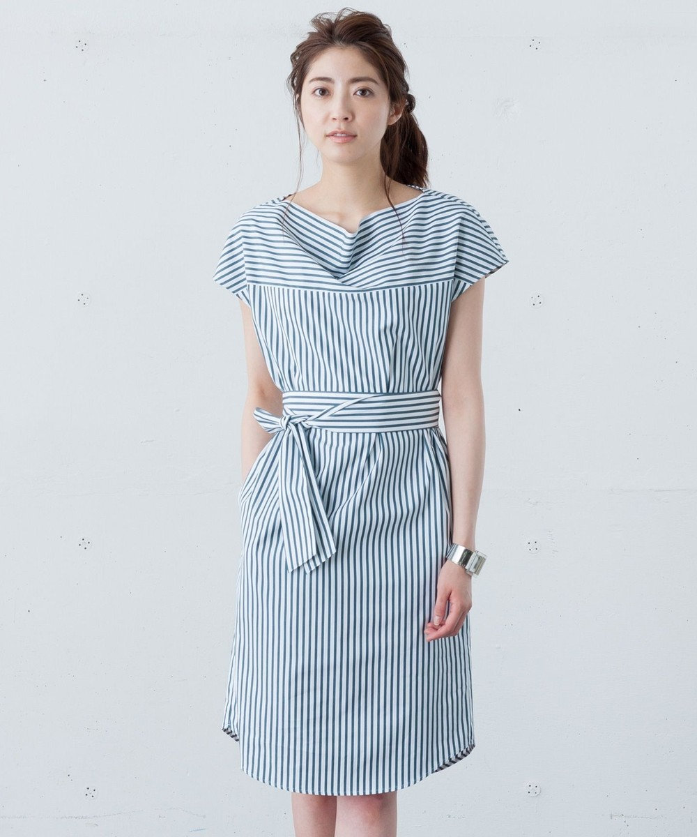 ICB 【洗える】Cotton Stripe ワンピース グリーン系1