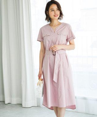 ICB L 【Utilism】トレンチ風 シャツワンピース ピンク系