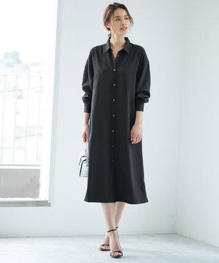 ICB 【Utilism】リネンライク シャツ ワンピース ブラック系