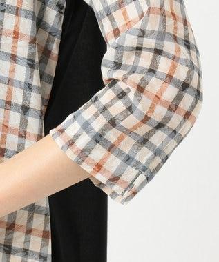 DAKS GOLF 【WOMEN】マーブルチェック シアーシャツ チュニック ベージュ系3