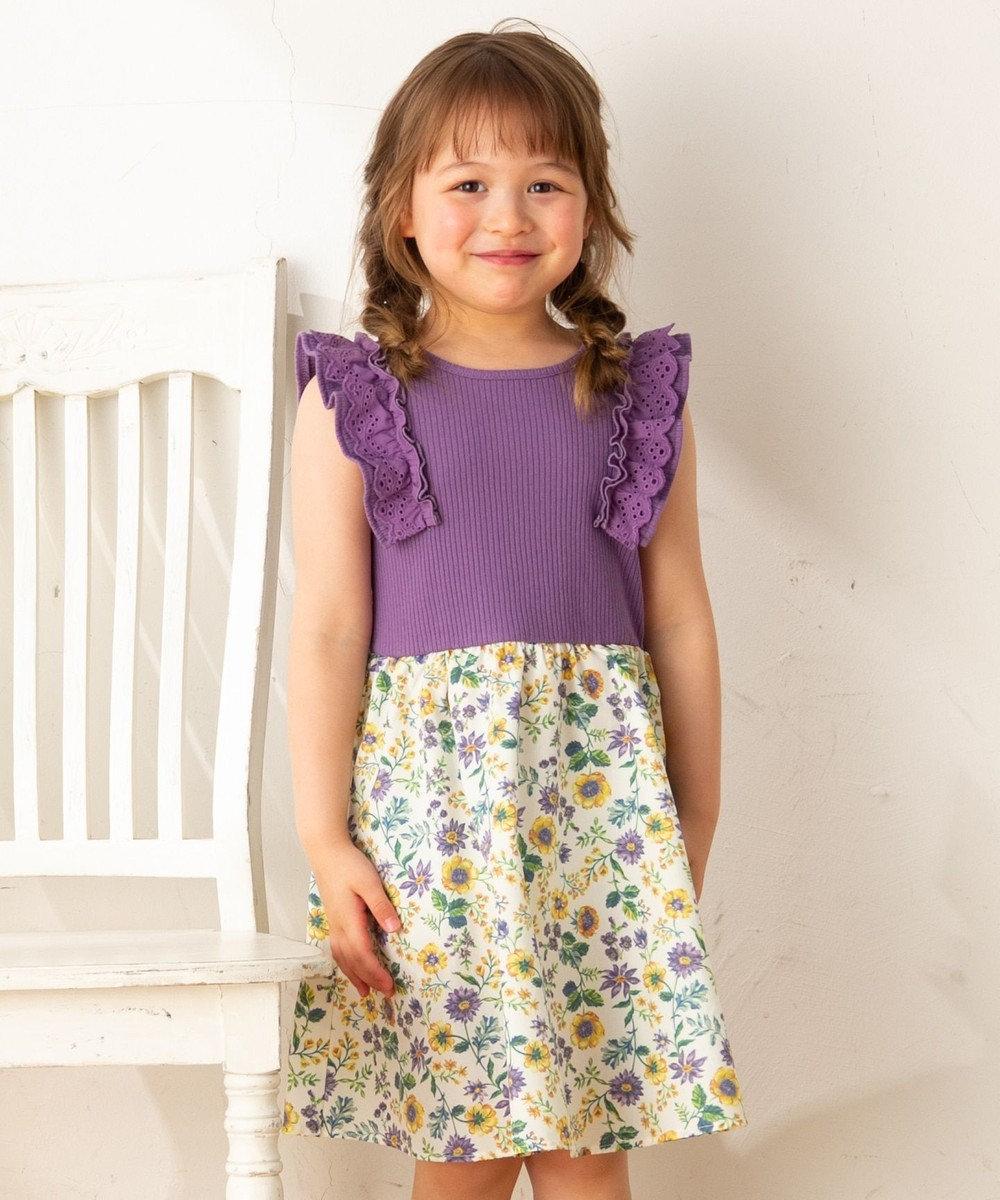 any FAM KIDS 【90-130cm】ボタニカル風花柄プリント ドッキングワンピース ライラック系