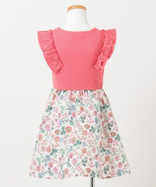 any FAM KIDS 【90-130cm】ボタニカル風花柄プリント ドッキングワンピース ピンク系
