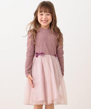 any FAM KIDS 【90-130cm】ケーブルニットxラメチュール ワンピース ピンク系