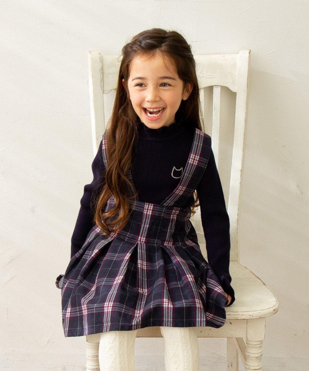 any FAM KIDS 【100-130cm】チェック ジャンパースカート モノトーン系